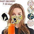 Sentmoon Breathable Summer Face Drinking Bandanas Facial Scarf Reusable Face Fabric with Hole for Straw (A)