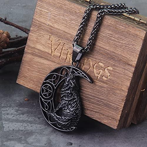 NDYD Colgante De Vikingos Nórdicos De Acero Inoxidable, Collar con Cabeza De Lobo Nórdico, Amuleto Original, Joyería De Animales con Caja De Madera como Regalo,Negro,60cm