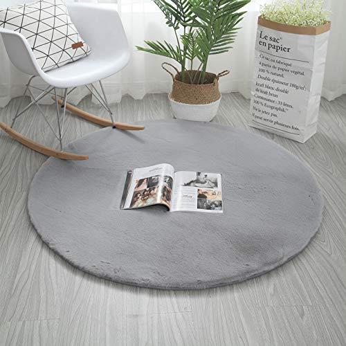 Amazinggirl Teppich rund 100cm ODER 80cm Hochflor plüsch Teppiche - klein Carpet für Wohnzimmer Kinderzimmer Schlafzimmer Weiß (grau, Ø 100 cm)