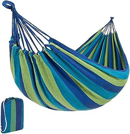 Signstek - Hamaca de lona portátil con bolsa de transporte para patio, jardín, ideal para camping, playa y viajes