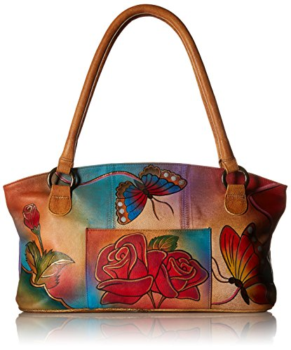 Anna by Anuschka Unisex-Erwachsene, Handpainted Leather Wide Tote, Butterfly echtes Leder, breite Tragetasche, handbemalt, originales Kunsthandwerk, Rose Schmetterling