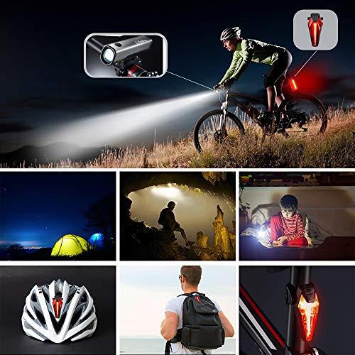 LIFEBEE LED Fahrradlicht Set, StVZO Zugelassen USB Wiederaufladbare Fahrradbeleuchtung fahrradlichter Set, IPX5 Wasserdicht Frontlicht Rücklicht Fahrradlampe Set, 300Lumen Licht für Fahrrad - 6