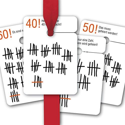 8 verjaardagscadeauhangers gekleurd, Hangtag-set voor 30, 40, 50, 60e verjaardag - met grappige felicitaties Es sind nur Cijfer!• Om geschenken mooier te geven