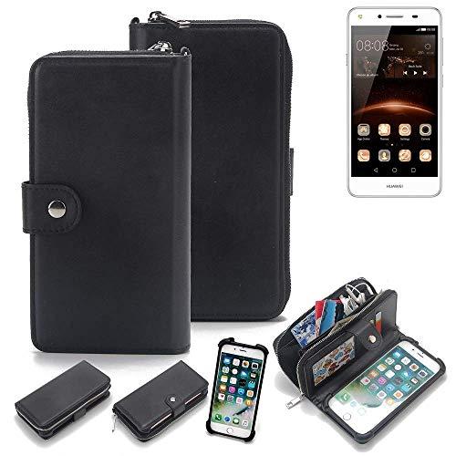 K-S-Trade 2in1 Handyhülle Für Huawei Y5 II Dual-SIM Schutzhülle und Portemonnee Schutzhülle Tasche Handytasche Hülle Etui Geldbörse Wallet Bookstyle Hülle Schwarz (1x)