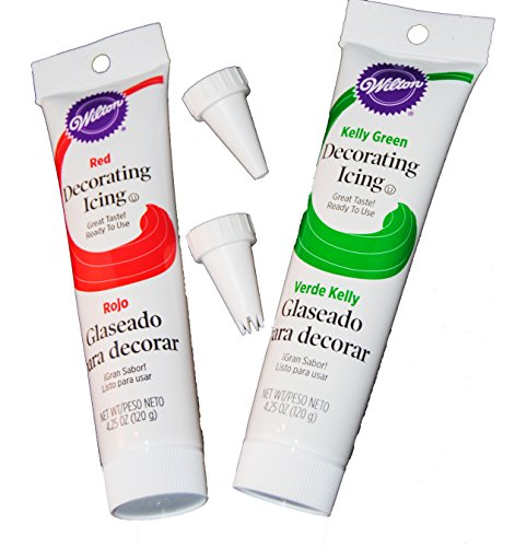 Wilton Holiday Decorating Icing Kit, Red and Green (Plus Tips)