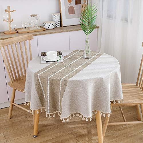 TIGOGZ Mantel Rayado Redondo Banquete De Boda Mesa De Comedor Y Sillas Mantel Borla Muebles para El Hogar Decoración Cubierta De Polvo 150 Cm