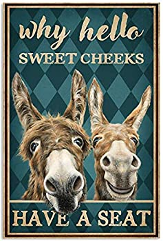 Metal Sign Why Hello Sweet Cheeks Have A Seat Poster Funny Horse Poster Cute Logo Coffee Shop Kitchen Toilet Logo Nics Logo Valentine¡¯s Day President¡¯s Day Best Gift for Friends Family 12X16 inch