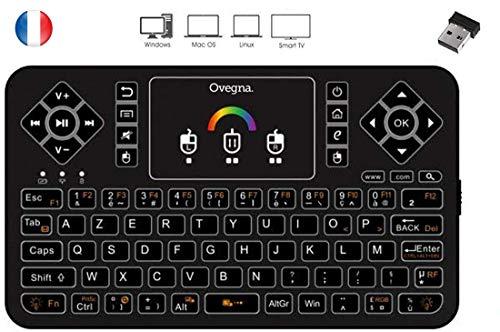 Ovegna Q9 : Mini Clavier sans Fil AZERTY, Wireless 2.4Ghz, Touchpad, Batterie Rechargeable, Rétro-éclairée RVB, pour Smart TV, PC, Mini PC, Mac, Raspberry PI 2/3/4, Consoles, Laptop et Android Box