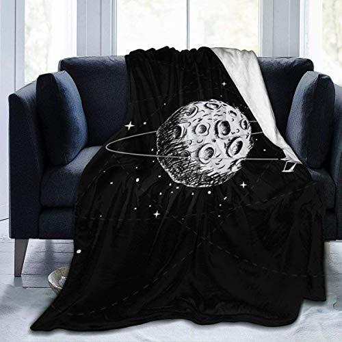 Manta Spacecraft Orbiting The Moon.Hand Drawn Style.Vector Illustration manta de cama y mantas 127 x 102 cm