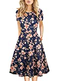 Juniors Clothing for Teen Girls Summer Vintage Knee Length Peach Blossom Floral Wear to Work Party A-Line Womans Dress with Pockets 162 (S, Navy)