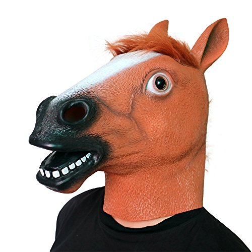 Brown Horse Mask Halloween Creepy Horse Head Mask Rubber Latex Animal Horse cosplay Novelty Halloween Costumes Horseman Mask