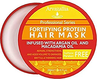 Fortifying Protein Hair Mask and Deep Conditioner with Argan Oil and Macadamia Oil By Arvazallia - Hair Repair Treatment for Damaged, Brittle, or Thinning Hair