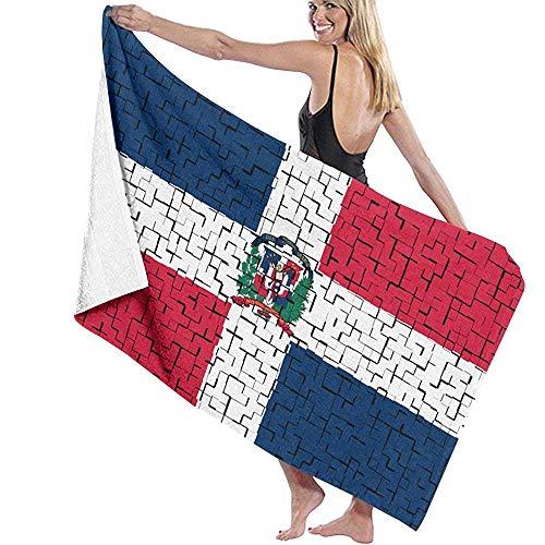 Bath Towels República Dominicana Bandera Puzzle Toalla De Playa Suave Microfibra 80X130Cm Toalla De Piscina Unisex Toallas De Baño De Viaje Sábana De Baño Absorbente Adultos Liger
