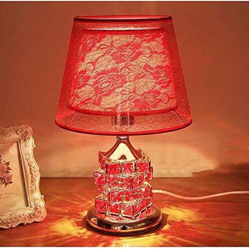 XQDSP Lampe de Table en Cristal à Double Abat-Jour en Cristal, Verre doré, châssis, Chambre à Coucher, Lampe de Chevet décorative,Red