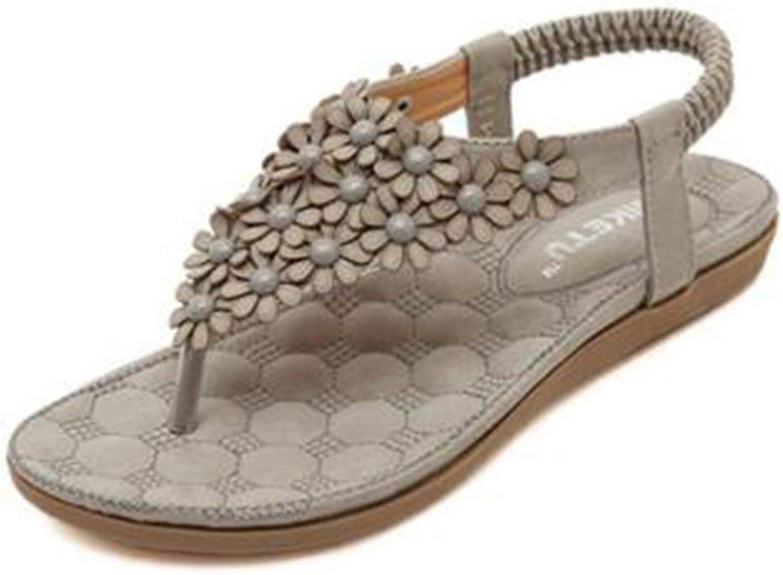 Ghapwe Women's Bohemian Flower Beach Flat shoes Thong Sandals Pink 8.5 M US