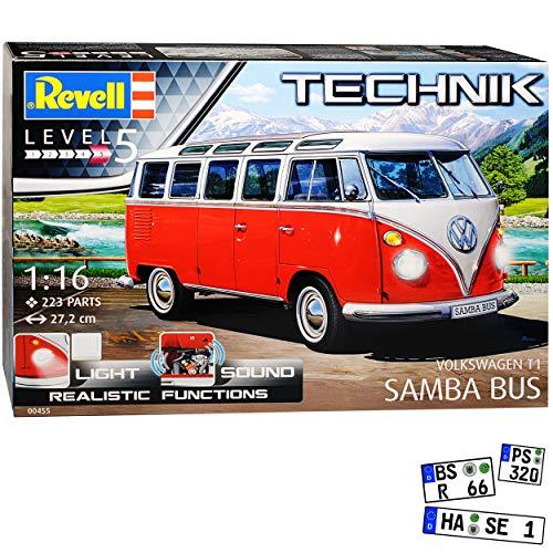 alles-meine.de GmbH VW T1 Rot Beige mit Licht und Sound Samba Bully Bus 1950-1967 00455 Bausatz Kit 1/16 1/18 Revell Modell Auto