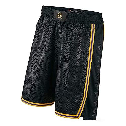 Schwarzes Mamba Kobe Retro Basketball Trikot für Herren, Lakers # 8# 24 Swingman Unisex Gedenk Edition Basketball Trikot (S-XXL)-Shorts-M