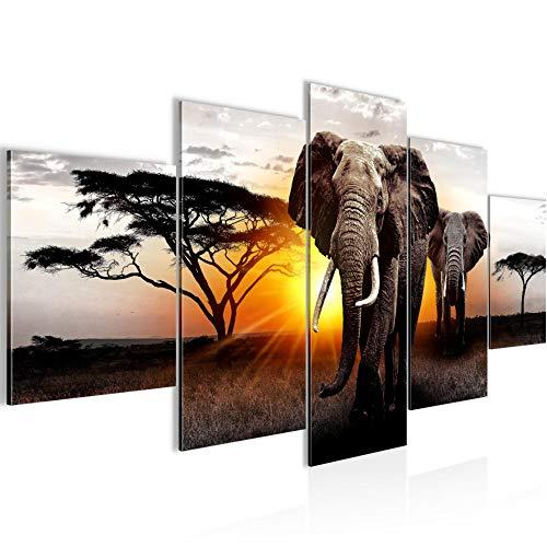 Runa Art - Bilder Afrika Elefant 200 x 100 cm 5 Teilig XXL Wanddekoration Design Grau Orange 007651a