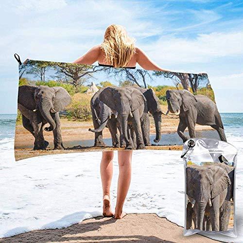 Toalla de baño de la Familia Wild Elephant, Toalla de Gimnasio, Toalla de Playa, súper Absorbente, Microfibra de Secado rápido Suave, Liviana, Blanca, 27.5 'x55