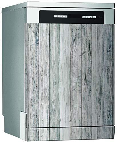 Megadecor decoratief vinyl voor vaatwasser, afmetingen standaard 67 cm x 76 cm, rustieke houten planken, lichtgrijs