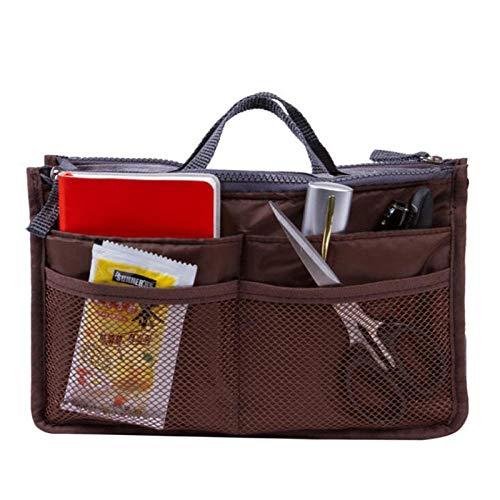 Bolso de Mano Bolsa de cosméticos de Gran Capacidad Accesorios de Viaje espesados Organizador de inserción de Viaje de Nailon Bolso Billetera Mujer Bolsa de cosméticos-café
