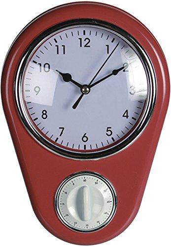 Horloge murale design rétro des années 50 « Kitchen » avec minuteur, Rot