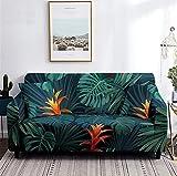 Funda Sofa 3 Plazas Fundas para Sofa Hoja de Palmera de Flor Tropical Fundas de Sofa Elasticas Fundas para Sofá Ajustables Estampada Cubre Sofa con 1 Funda de Cojín