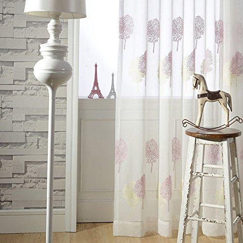 Tine Home Rideaux et Rideaux Sheer Rideaux Blanc Arbre Rose brodée pour fenêtre traitements Produit Fini Salon œillets en Haut Un Panneau, Blanc, 1pc(150 * 270 cm)