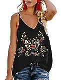 TECREW Women's Boho Floral V Neck Spaghetti Straps Tank Top Summer Sleeveless Shirts Blous
