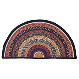 VHC Brands Stratton Half Circle Jute Rug 16.5x33 Country Braided Flooring, Navy and Red