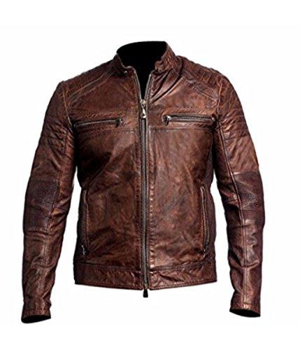 Feather Skin Distressed Brown Leather Biker Jacket Cafe Racer Vintage Jacke-XS