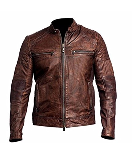 Feather Skin Giacca Uomo Cafe Racer Vintage Distressed Marrone Motociclista Pelle Giacca- L