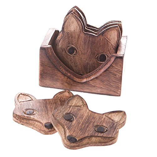 Set van 6 Wooden Fox Coasters In Wooden Box Set Brown Beige