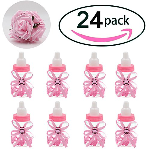 Baby bottles for Baby shower, 24Pcs Mini girl Baby shower favors Candy Bottle with 5Pcs Artificial Rose for Newborn Baby Baptism Party, baby shower party décor,pink,Noex Direct (Bottle Rose-1)