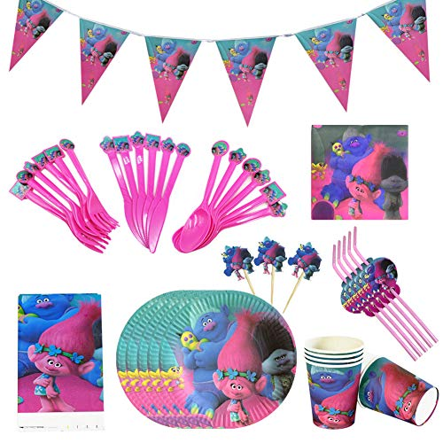 Vajilla de Fiestas, 92 Piezas Conjunto de Suministros de Fiesta Pancartas Platos Tazas Servilletas para Niños Cumpleaños Niñas (10 Invitados)