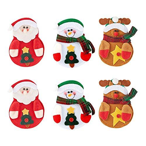 Navidad cubiertos cubiertos titulares, cuchillo y tenedor de cocina vajilla bolsas para vacaciones Fiesta Decoración (Set de 6)