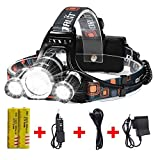 Newest Headlamp Flashlight 10000 Lumen,Best IMPROVED LED with Rechargeable Battery, Bright Head Lights,Waterproof