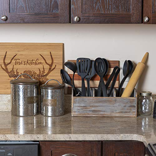 Besti Wooden Kitchen Utensil Holder With 3 Compartments | Torched Wood Utensil Organizer | For Cutlery, Napkins, Cups