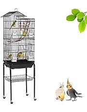 Yaheetech XL vogelkooi vogelkooi vogelvolière golfvogelkooi kanarievogelkooi met standaard 46 x 35,5 x 158,5 cm, 360 graden draaibare wielen