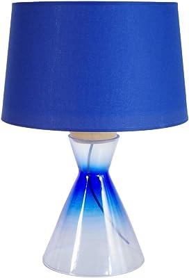 Tosel 64563 Conical-Lampada in legno di faggio, con tubo in acciaio, in cotone, colore: trasparente/blu 350 x 500 mm