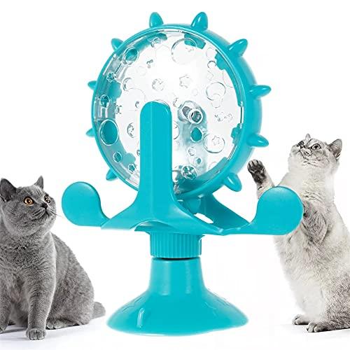 AOTEMAN Katzenspielzeug mit Saugnapf, drehende Windmühle, Katzen-Drehteller, Teasing, Katzenspielzeug, automatischer Futterball, bissfest, Haustierbedarf (blau)