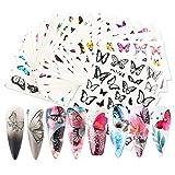 Papillon Nail Art Stickers Decal Transfer Water Set Papillons Colorés Manucure Stickers pour Ongles Acrylique Décoration Nail Accessoires Art DIY (30 Feuilles) (Set 1)