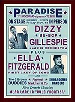ポスター デニース ローレン Dizzy Gillespie and Ella Fitzgerald at Paradise 1947 額装品 ウッドベーシックフレーム(ブラウン)