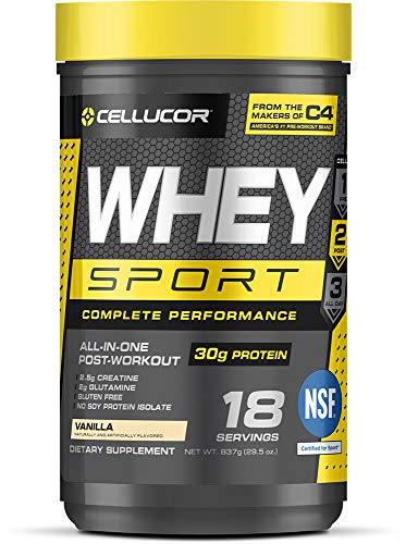 Cellucor Whey Sport Protein Powder, Post Workout Recovery Drink with Whey Protein Isolate, Creatine & Glutamine, Vanilla, 18 Servings