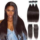 Lakihair Unprocessed Virgin Human Hair 3 Bundles with Closure 8A Brazilian Human Hair Virgin Straight Hair Soft Bundles With Lace Closure Natural Black Color (14'16'18'+12'Closure,Free Part)