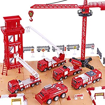 iPlay iLearn Kids Fire Trucks Toy Boys Firefighter Play Vehicles Fire Station Set Ladder Truck Toddlers Emergency Rescue Firetruck Fireman Toys Birthday Gifts for Age 3 4 5 Year Old Children