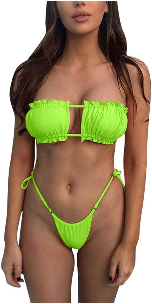 Summer Women's Bikini Split Swimsuit Striped Print P Lace Two Arlington overseas Mall Up