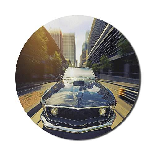 Alfombrilla de ratón retro para ordenadores, Vintage Classic Car en Urban Street Old Fashion Auto in Town Nostalgia Picture, redonda antideslizante de goma gruesa Alfombrilla de ratón moderna para jue