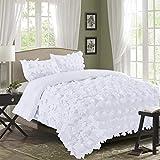 HIG 3 Piece Handmade Bow Tie Applique King Size Bed Set - All-Season Soft Microfiber White Comforter Set -...
