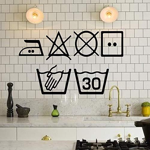 Wasserij Symbolen Muursticker Wasmachine Home Decor Keuken Wasruimte Muursticker Art Murals Decoratie